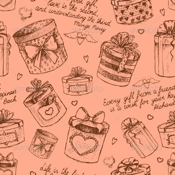 Seamless Gift Present Boxes Pattern - Backgrounds Decorative