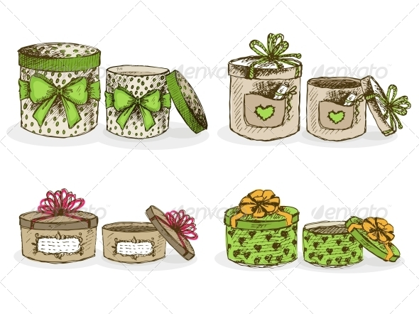 Open and Closed Hat Boxes with Decor - Miscellaneous Seasons/Holidays