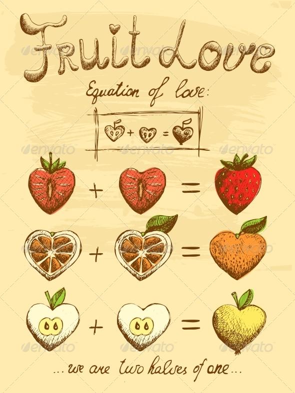 Fruit Love Formula Vintage Poster - Food Objects