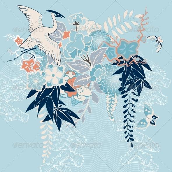 Japanese Kimono Motif with Crane and Flowers - Decorative Symbols Decorative
