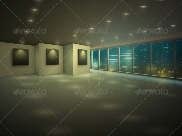 Empty Illuminated Apartment at Night - Buildings Objects