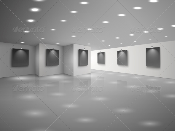 Empty White Hall Interior with Blank Canvases - Buildings Objects