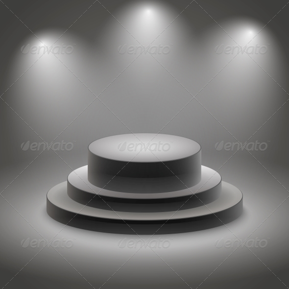 Black Empty Illuminated Podium - Man-made Objects Objects