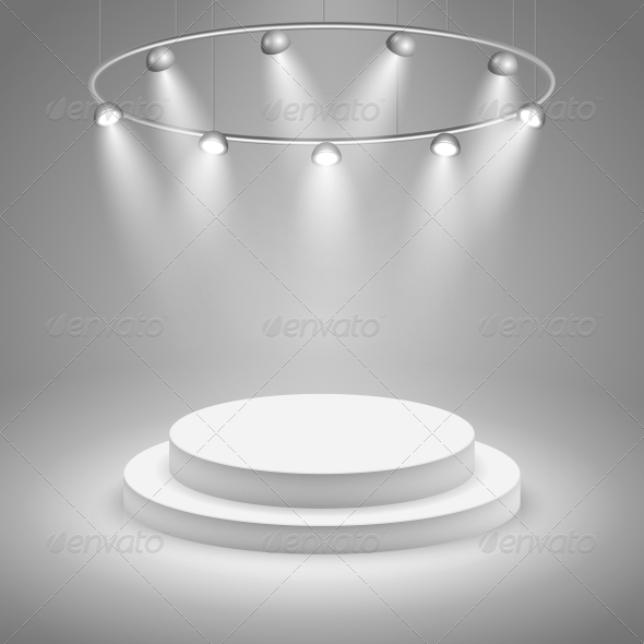 White Stage with Spotlight - Man-made Objects Objects