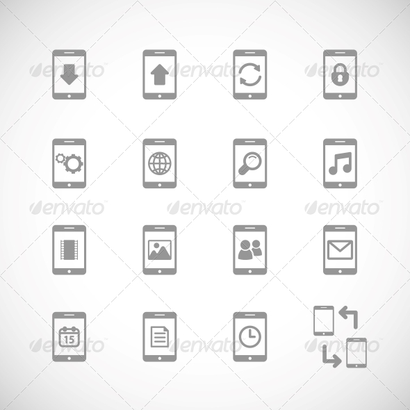 Online Mobile Applications Icons Set - Web Elements Vectors