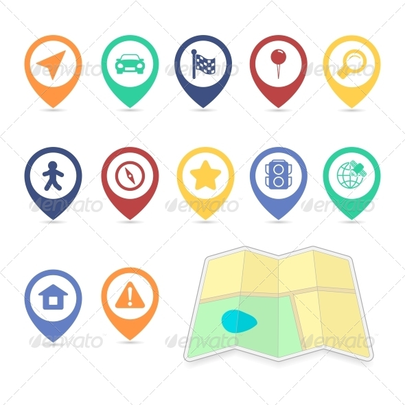 Location UI Design Elements Contrast Color - Web Elements Vectors