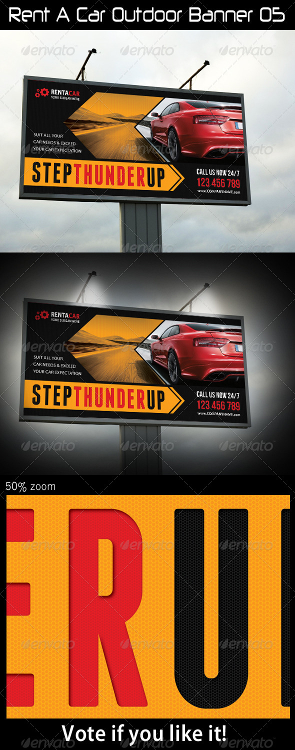 Rent A Car Outdoor Banner 05 - Signage Print Templates