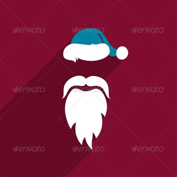 Flat Design Santa Claus Face - Christmas Seasons/Holidays