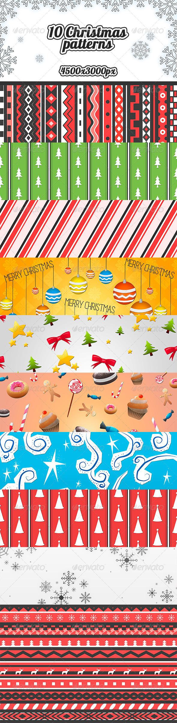 10 Christmas Patterns  - Patterns Backgrounds