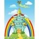 Fairytale Blue Castle with  Flags
