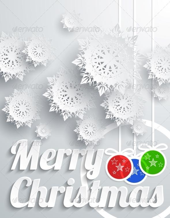 Merry Christmas with Snowflake and Balls - Christmas Seasons/Holidays