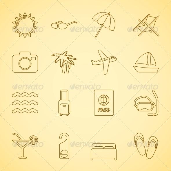 Generic Travel Icons Set, Contour Flat - Travel Conceptual