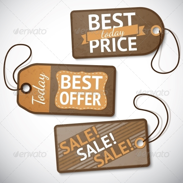Set of Retail Cardboard Sale Tags - Retail Commercial / Shopping