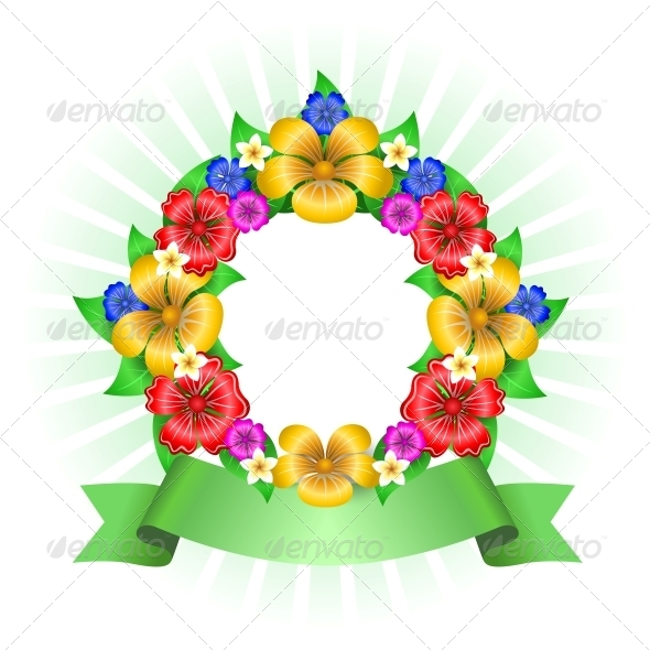 Tropical Flowers Wreath Frame - Flowers & Plants Nature