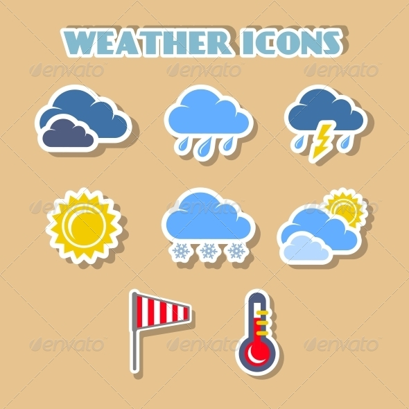 Weather Icons Set, Color Stickers - Web Technology