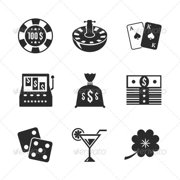 Casino Icons Set for Design - Web Technology
