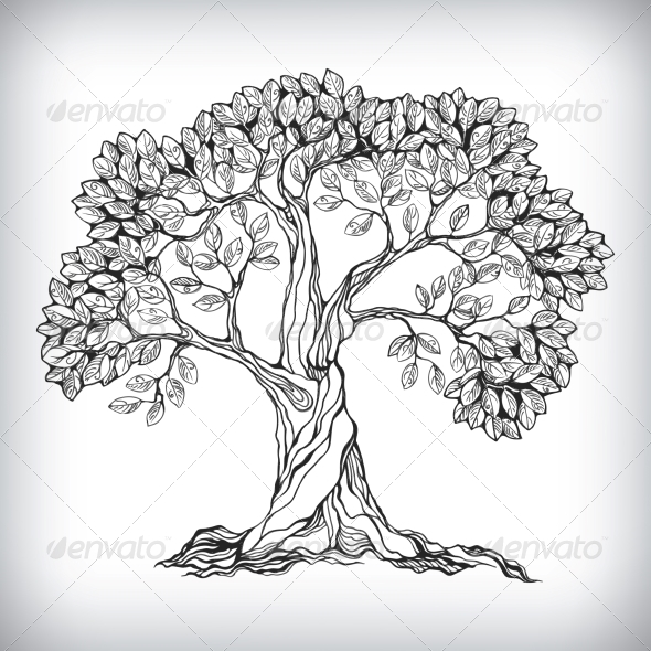 Hand Drawn Tree Symbol - Flowers & Plants Nature