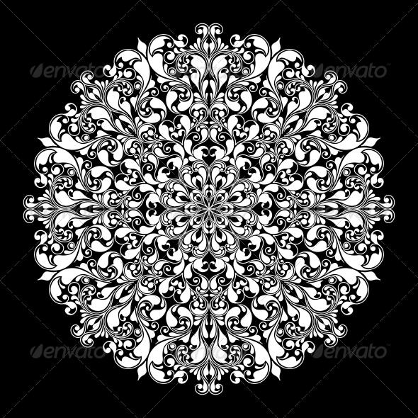 Ornamental Round Pattern on Black - Decorative Symbols Decorative