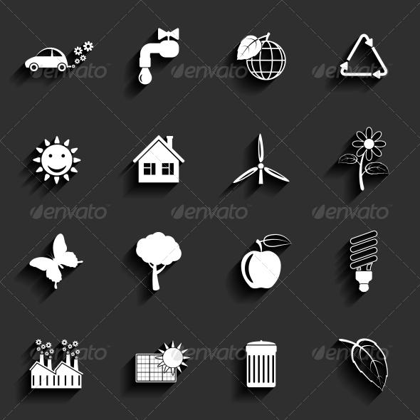 Ecology Vector Flat Icons Set - Web Elements Vectors