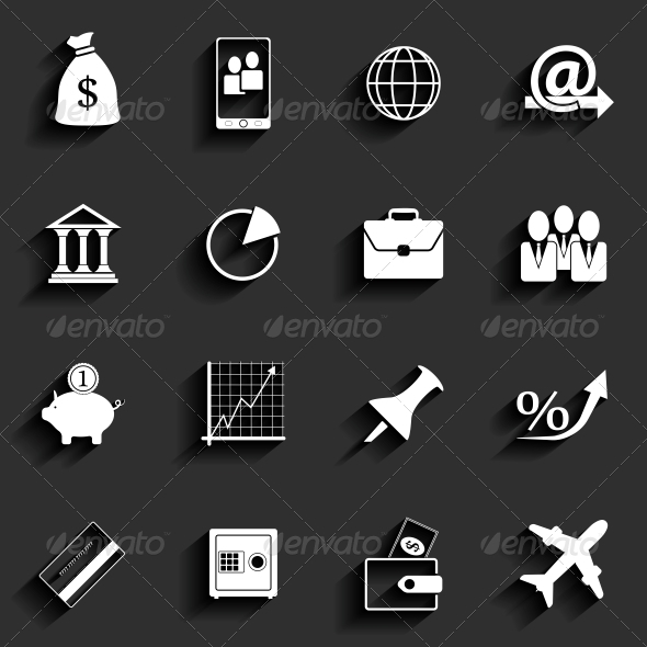 Office and Business Flat Icons - Web Elements Vectors