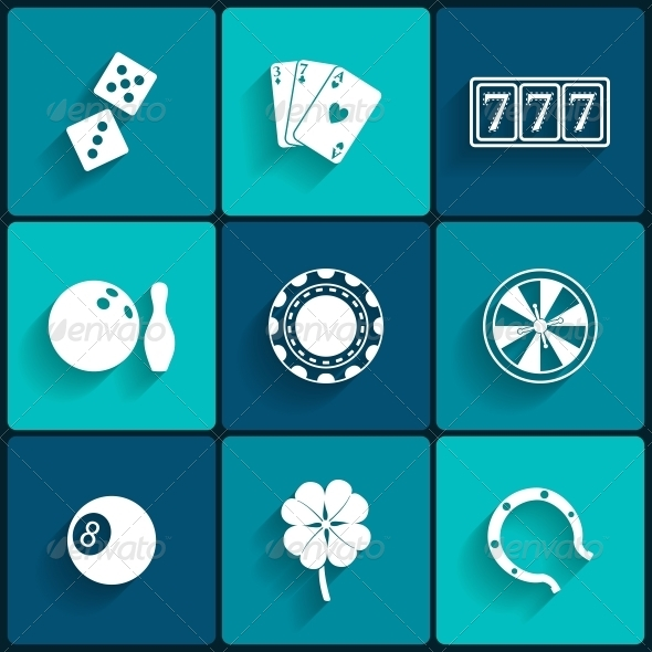 Casino and Gambling Flat Icons - Man-made Objects Objects