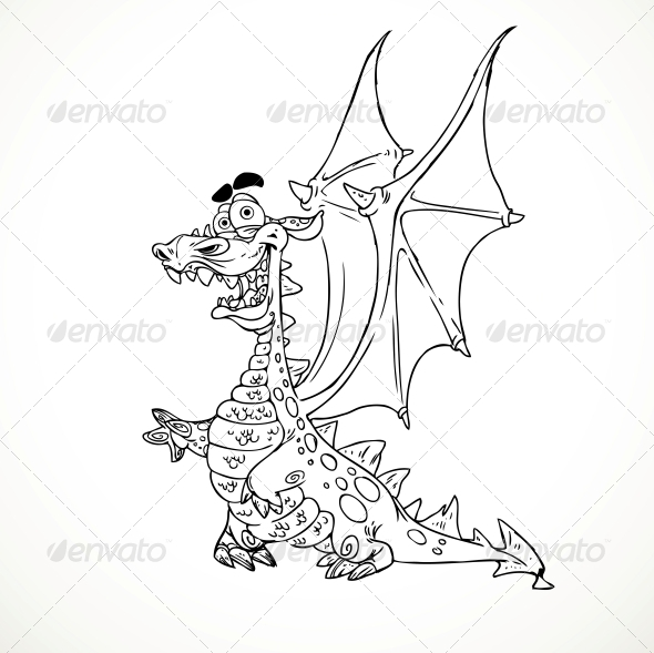 Fairytale Magical Dragon in Outlines for Coloring - Monsters Characters