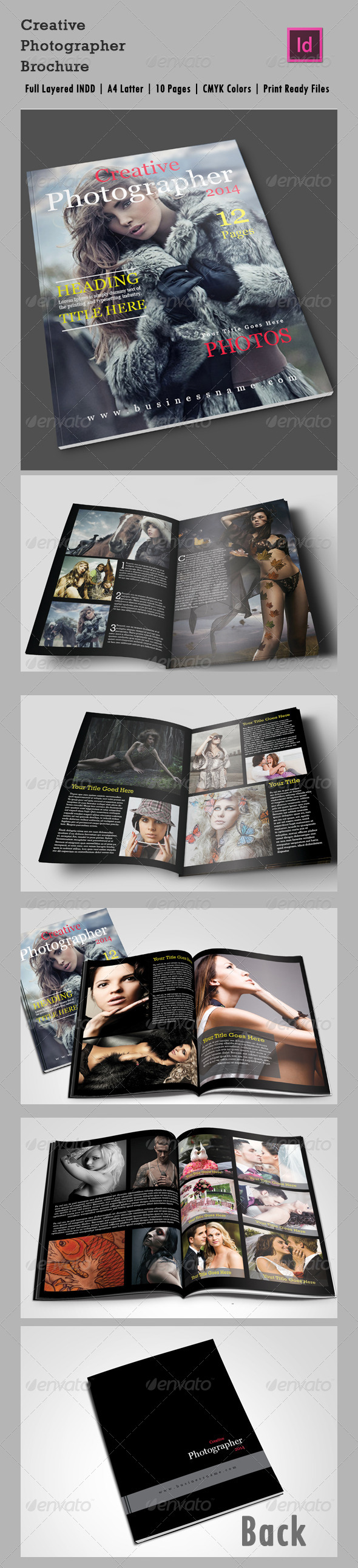 10 Page Creative Photographer InDesign Brochure A4 - Corporate Flyers