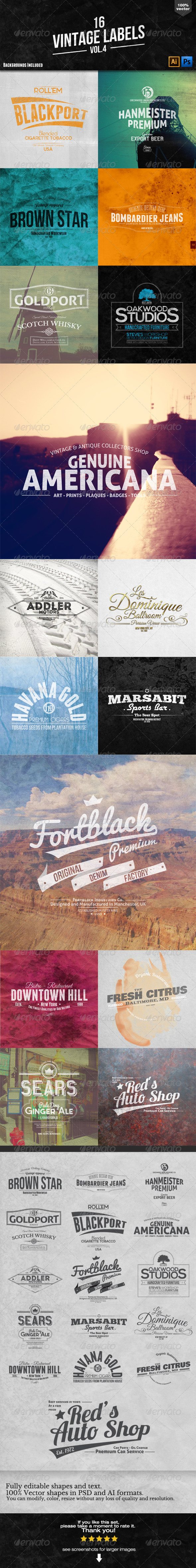 16 Vintage Labels and Badges Vol.4 - Badges & Stickers Web Elements