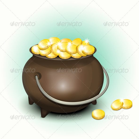 Magic Pot with Gold Coins for Patricks Day - Seasons/Holidays Conceptual