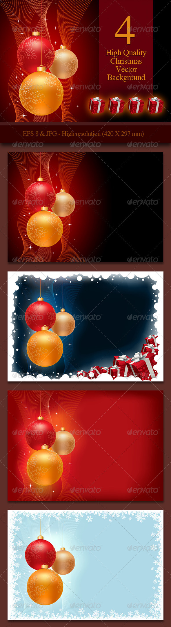 4 Christmas Background - Christmas Seasons/Holidays