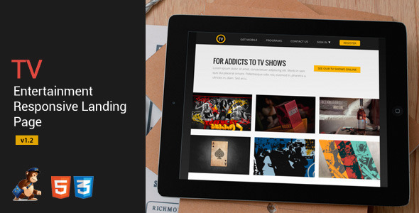 Tv-Entertainment Responsive Landing Page