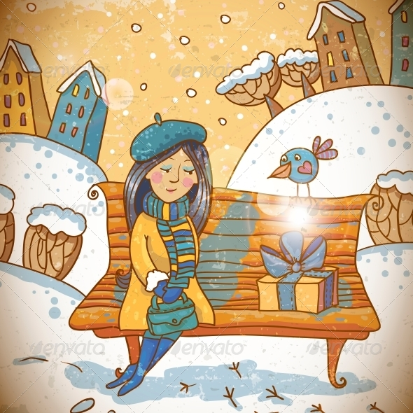 Girl with a Gift on Winter Background - Patterns Decorative