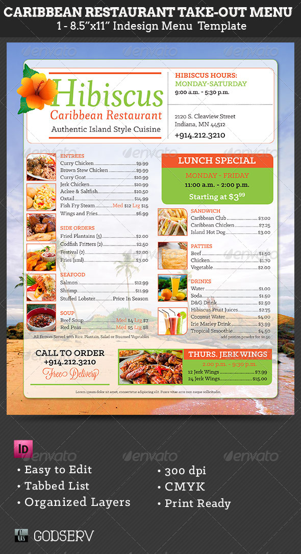 Caribbean restaurant take out menu template by godserv for Templates for restaurant menus