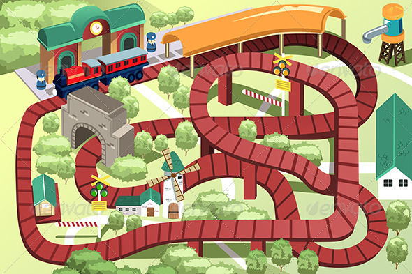 Miniature Toy Train Track - Objects Vectors