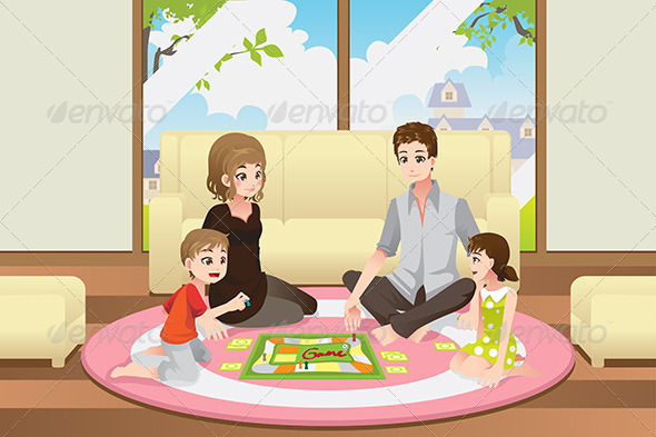 Family Playing Board Game - People Characters