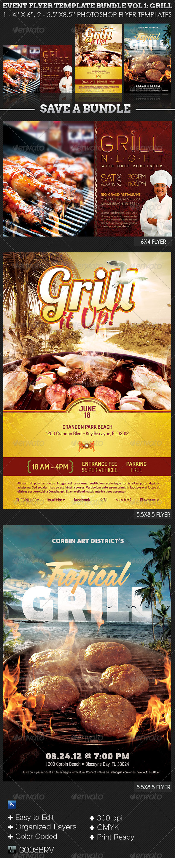 Barbeque Grilling Event Flyer Template Bundle - Events Flyers