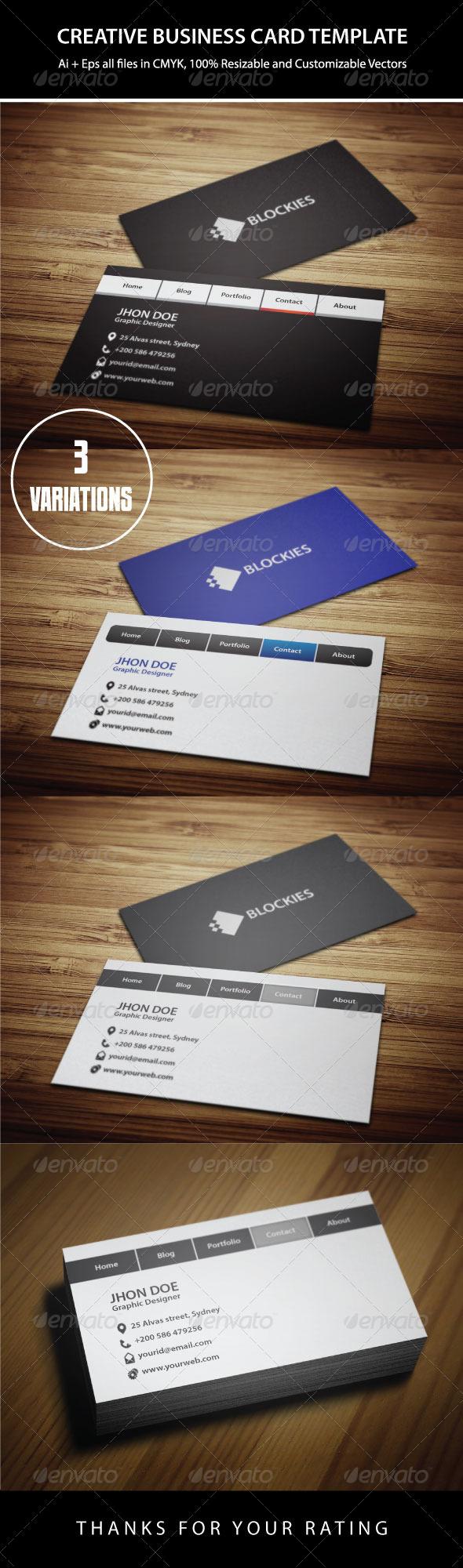 Navigation Bar Business Card - Creative Business Cards