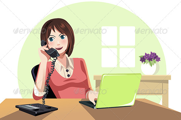 Businesswoman Working in the Office - Business Conceptual