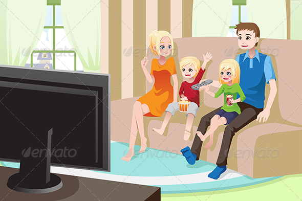 Family Watching Movies at Home - People Characters