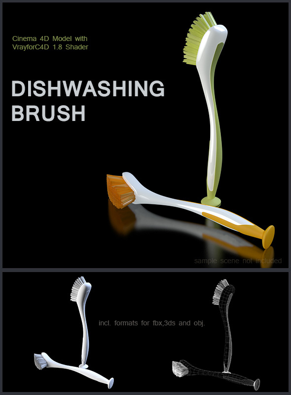 Dishwashing Brush - 3DOcean Item for Sale