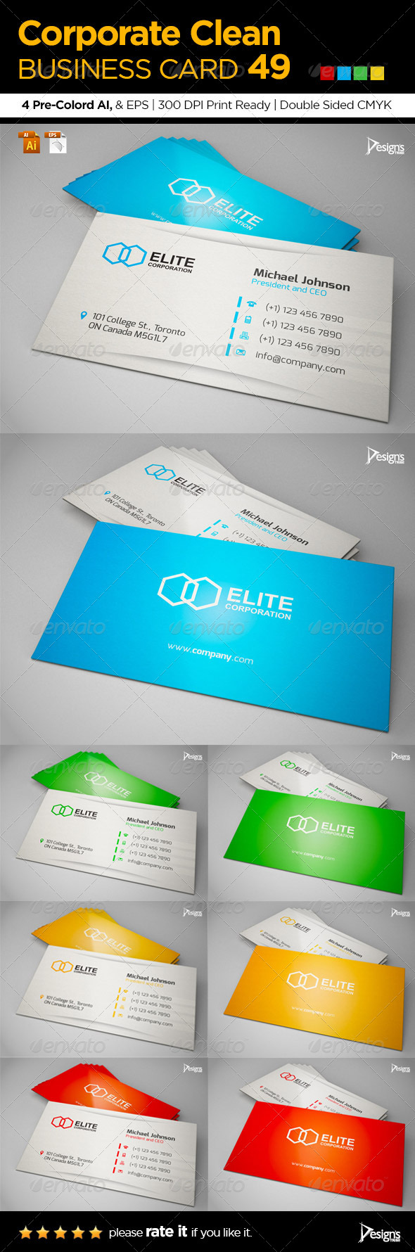 Corporate Clean Business Card 49 - Business Cards Print Templates