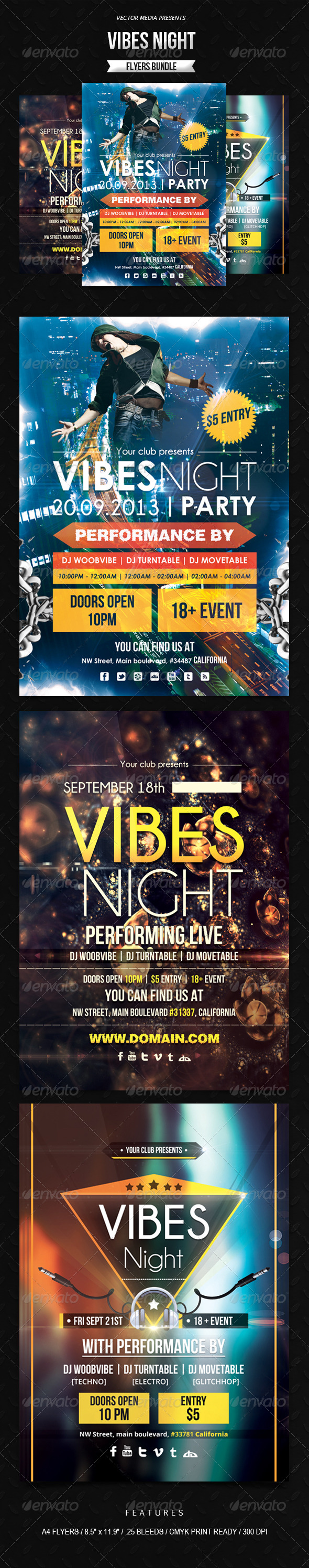 Vibes Night - Flyers Bundle - Clubs & Parties Events