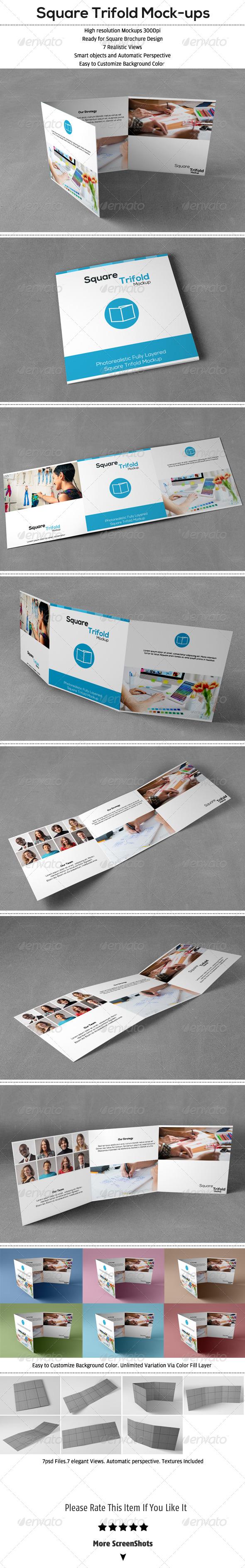 Square Trifold Mockup - Brochures Print