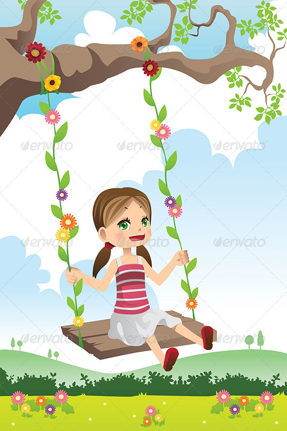 Girl Swinging on a Tree - People Characters