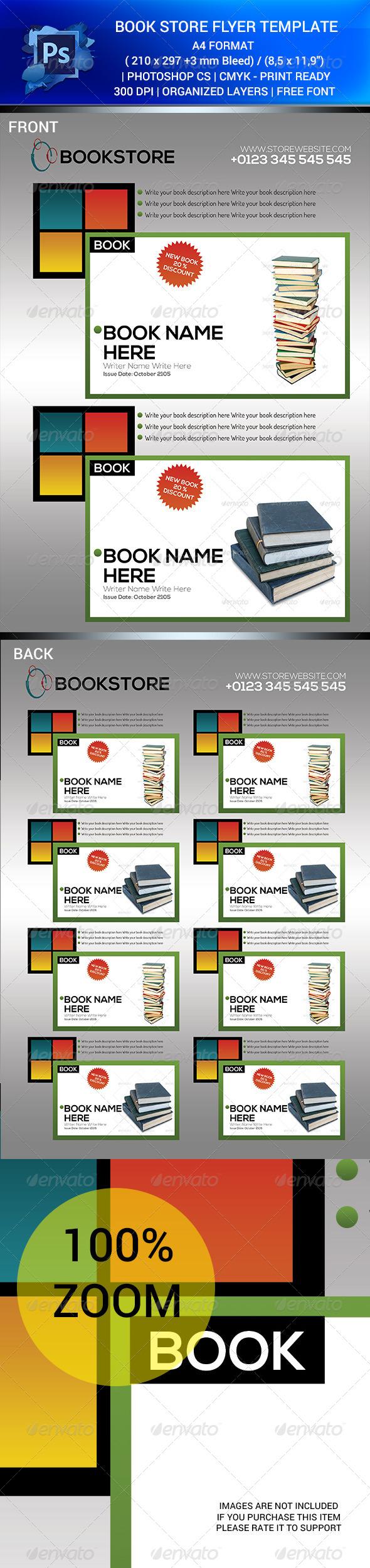 BOOK STORE SALES FLYER TEMPALET V.1 PSD - Flyers Print Templates