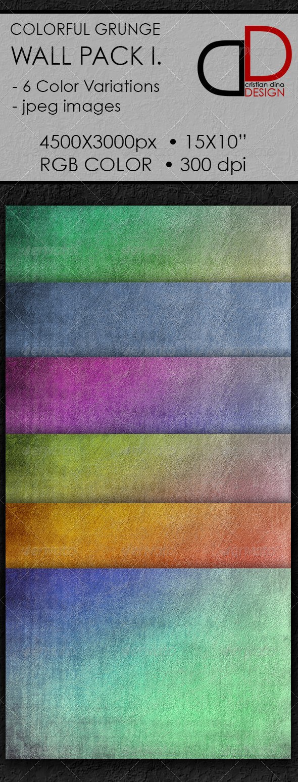 Colorful Grunge Wall Pack I. - Patterns Backgrounds