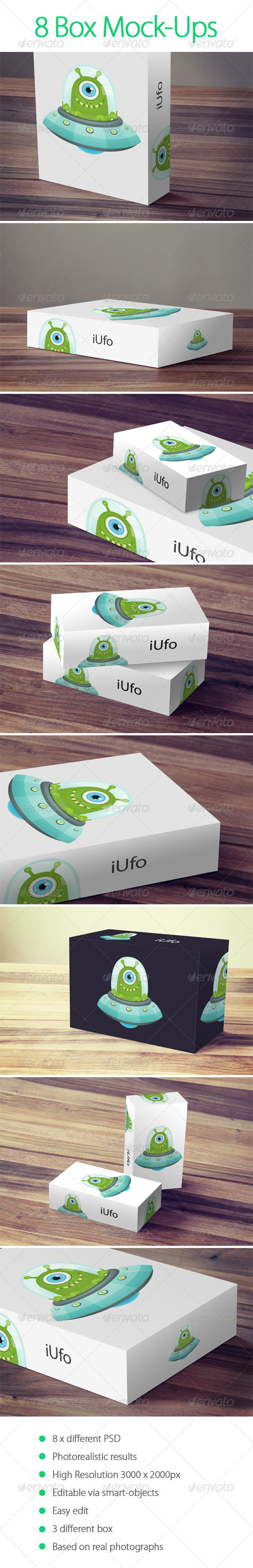 8 Box Mock-Up - Packaging Product Mock-Ups