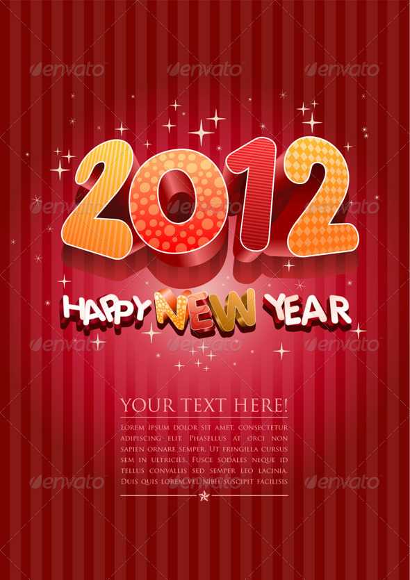 2012 Happy New Year Design Template - New Year Seasons/Holidays