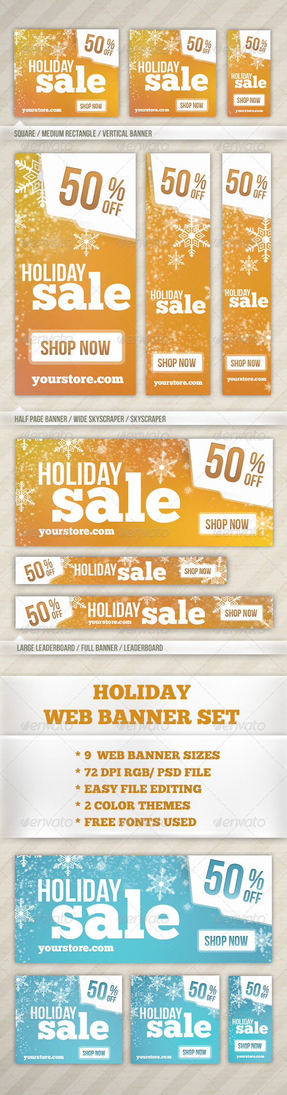 Holiday Web Banner - Banners & Ads Web Elements