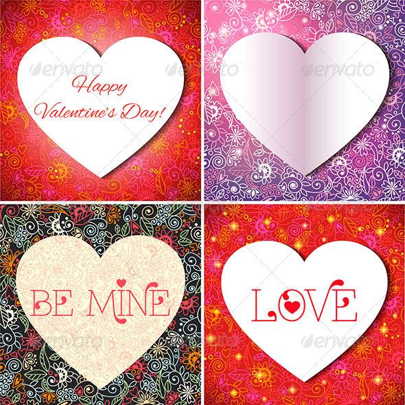 Set of Valentine's Cards - Valentines Seasons/Holidays